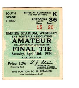 1954 FA Amateur Cup Final Crook Town v Bishop Auckland (Ticket)
