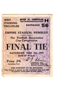 1955 FA Cup Final Newcastle United v Manchester City (Ticket)