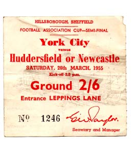 1955 FA Cup Semi-Final Newcastle United v York City (Ticket)