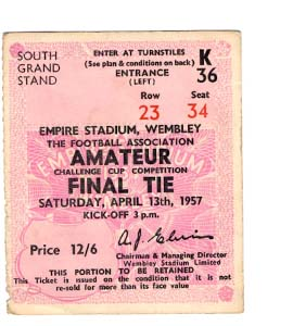 1957 FA Amateur Cup Final Bishop Auckland v Wycombe Wan (Ticket)