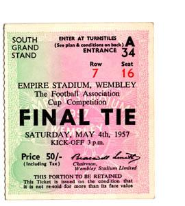 1957 FA Cup Final Aston Villa v Manchester United (Ticket)