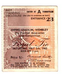 1962 FA Cup Final Tottenham Hotspur v Burnley (Ticket)