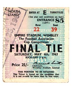 1963 FA Cup Final Manchester United v Leicester City (Ticket)