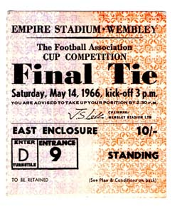 1966 FA Cup Final Everton v Sheffield Wednesday (Ticket)