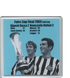 1969 Fairs Cup Final Ujpesti Dozsa v Newcastle (Coaster)