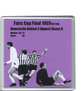 1969 Fairs Cup Final Newcastle v Ujpesti Dozsa (Coaster)