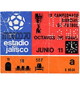 1970 World Cup England v Czechoslovakia (Ticket)