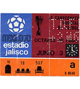 1970 World Cup Ticket Brazil v Czechoslovakia (Ticket)