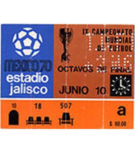 1970 World Cup Ticket Brazil v Romania (Ticket)