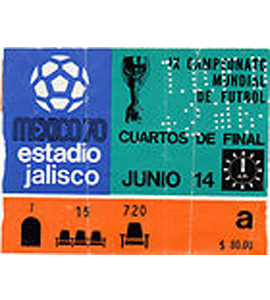 1970 World Cup Ticket Brazil v Peru Quarter-Final (Ticket)