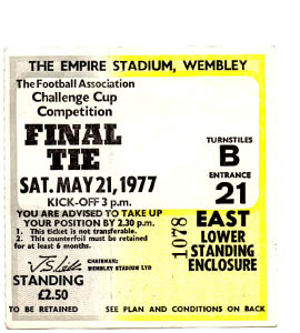 1977 FA Cup Final Manchester United v Liverpool (Ticket)