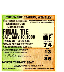 1980 FA Cup Final West Ham v Arsenal (Ticket)