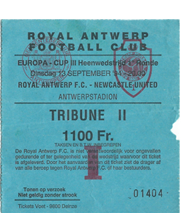 1994/95 Antwerp v Newcastle United UEFA Cup (Ticket)
