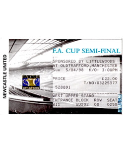 1998 FA Cup S/F Newcastle United v Sheffield United (Ticket)