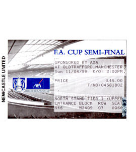 1999 FA Cup S/F Newcastle United v Tottenham Hotspur (Ticket)