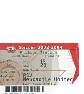 2003/04 PSV Eindhoven v Newcastle United UEFA Cup (Ticket)