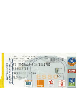 2004/05 Sochaux v Newcastle United UEFA Cup (Ticket)