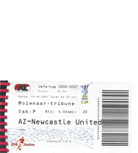 2006/07 AZ Alkmaar v Newcastle United UEFA Cup (Ticket)