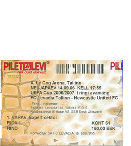 2006/07 Levadia Tallinn v Newcastle United UEFA Cup (Ticket)