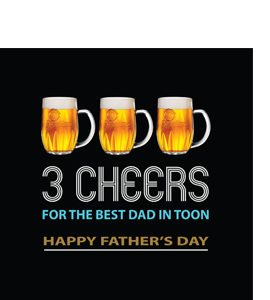 3 Cheers Best Dad in Toon Fathers Day (Greetings Card)