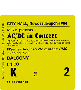AC/DC City Hall Ticket (Coaster)