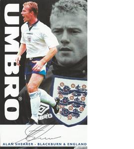 Alan Shearer England Sponsor Card (Signed)