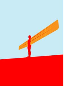 Angel Of The North, Tyneside Pop Art (Greeting Card)