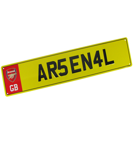 Arsenal F.C. Number Plate Sign