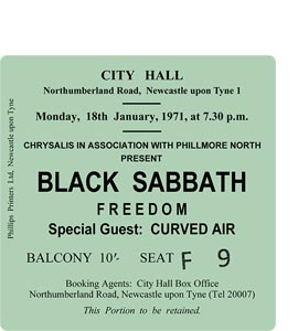 Black Sabbath City Hall Ticket (Coaster)