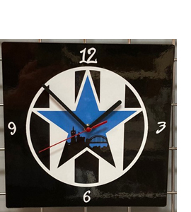 Blue Star Black & White Stripes Hand Made Wooden Wall Clock