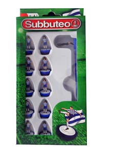 Blue & White Stripes Subbuteo Team