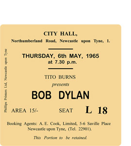Bob Dylan City Hall Ticket (Coaster)