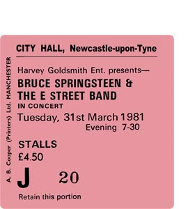 Bruce Springsteen City Hall Ticket (Coaster)