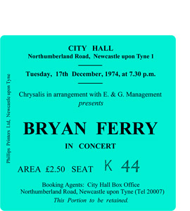 Bryan Ferry City Hall Ticket (Coaster)