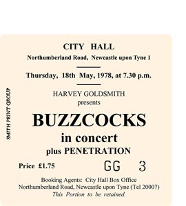 Buzzcocks City Hall Ticket (Coaster)