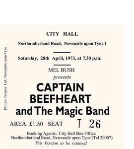 Captain Beefheart & The Magic Band City Hall Ticket (Coaster)