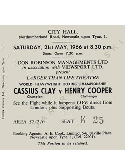 Cassius Clay v Henry Cooper City Hall Ticket (Coaster)