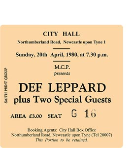 Def Leppard City Hall Ticket (Coaster)