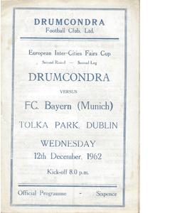 Drumcondra v Bayern Munich 1962/63 Fairs Cup (Programme)