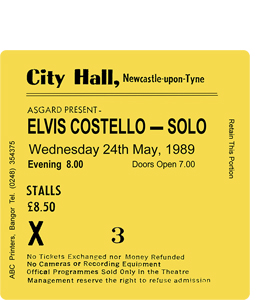 Elvis Costello City Hall Ticket (Coaster)