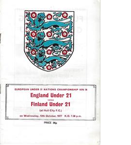 England U21 v Finland U21 1977 Nations Champ (Programme)