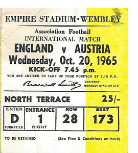 England v Austria 1965 International Match (Ticket)