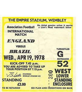England v Brazil 1978 International Match (Ticket)