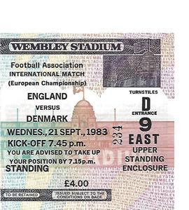 England v Denmark 1983 Euro Qualifier (Ticket)