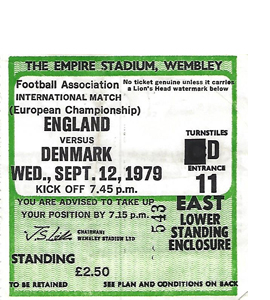 England v Denmark 1979 Euro Qualifier (Ticket)