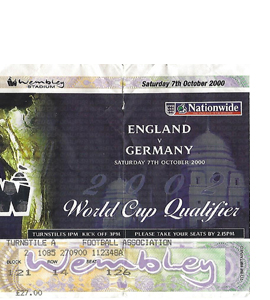 England v Germany 2000 World Cup Qualifier (Ticket)