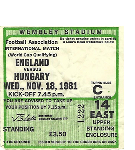 England v Hungary 1981 World Cup Qualifier (Ticket)