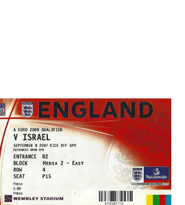 England v Israel 2007 Euro Qualifier (Ticket)