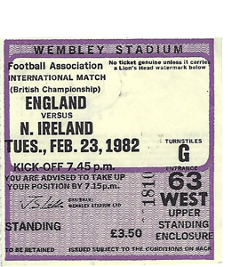 England v N.Ireland 1982 Home Internationals (Ticket)