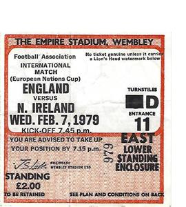 England v N.Ireland 1979 Euro Championship (Ticket)